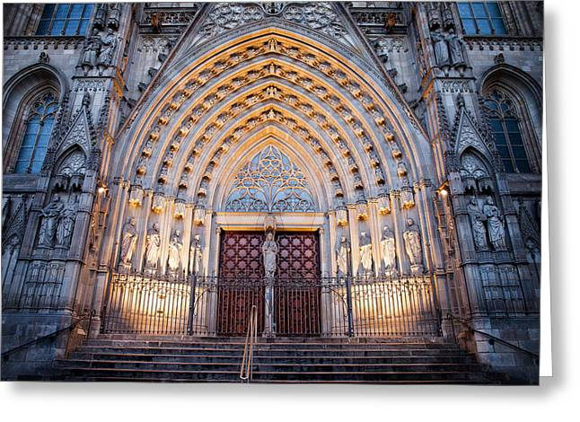 Entrance To The Barcelona Cathedral At Night Greeting Card