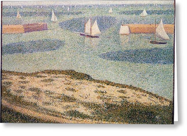 Entrance To The Harbor Greeting Card by Georges Seurat