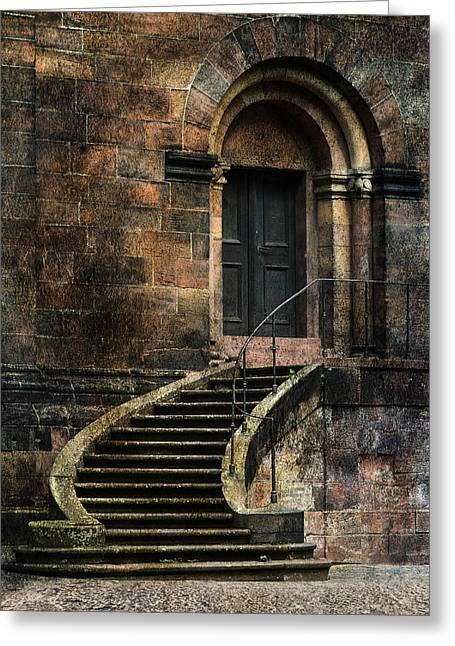 Entrance To The Old Brick Building And Curved Stairs Greeting Card by Jaroslaw Blaminsky