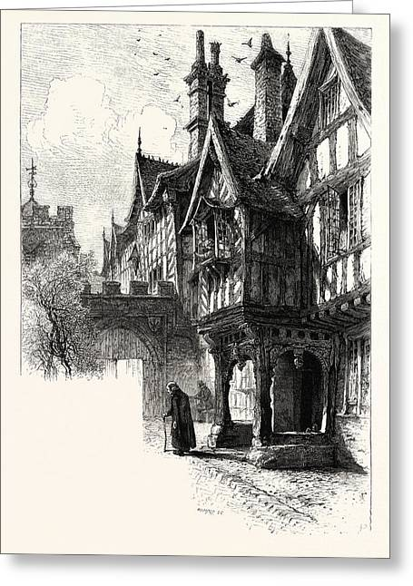 Entrance To The Porch Of Leicesters Hospital, Warwick, Uk Greeting Card