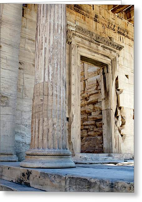 Entrance To The Temple Of The Athena Nike Greeting Card by Lorraine Devon Wilke