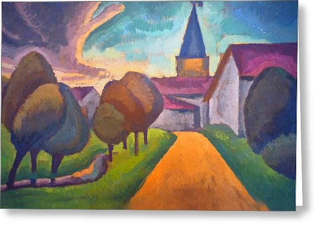 Entree Village Greeting Card by Roger de La Fresnaye