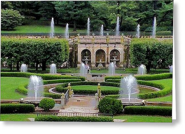 Entry Fountains At Longwood Gardens Greeting Card by Kim Bemis