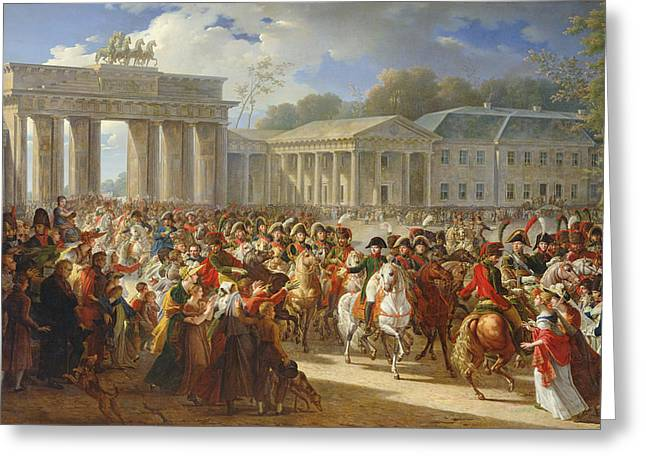Entry Of Napoleon I 1769-1821 Into Berlin, 27th October 1806, 1810 Oil On Canvas Greeting Card by Charles Meynier