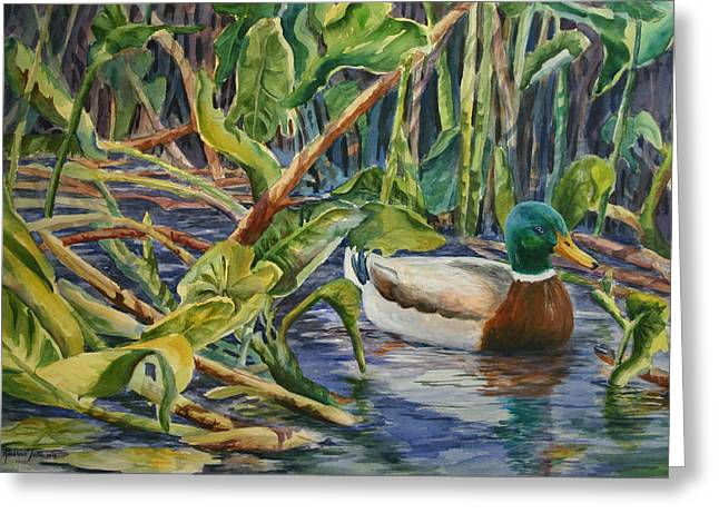Greeting Card featuring the painting Environmentally Sound - Mallard Duck by Roxanne Tobaison