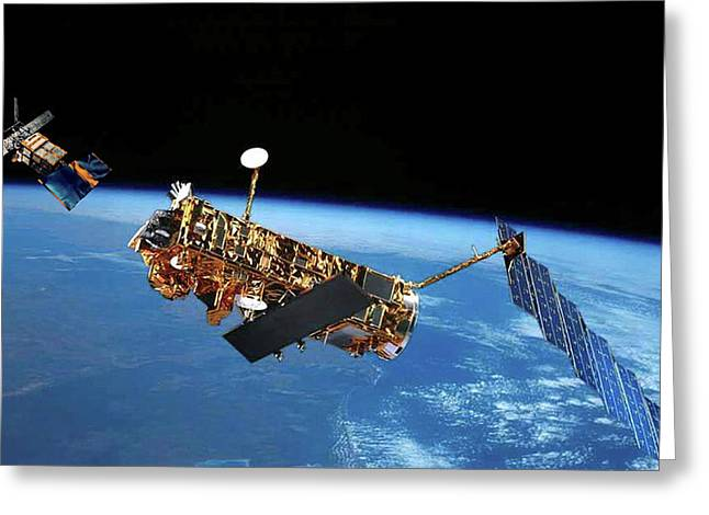 Envisat And Ers-1 Satellites Greeting Card