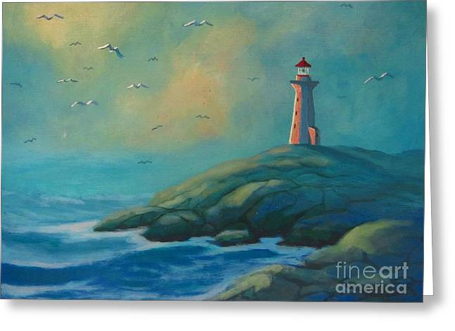 Envisioning Peggys Cove Lighthouse Greeting Card by John Malone