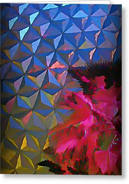 Epcot Centre Abstract Greeting Card by John Malone