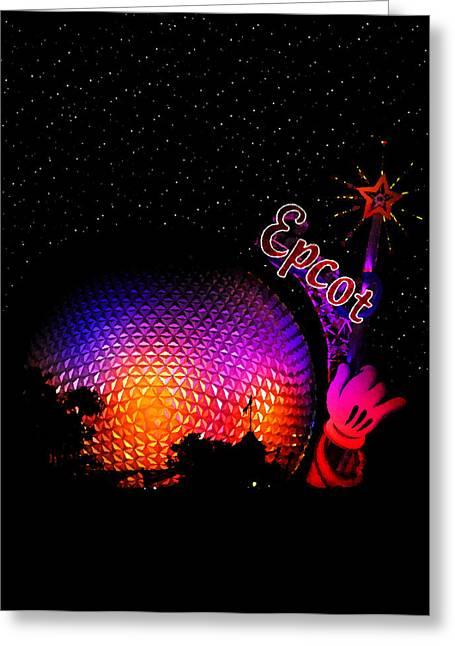 Epcot Night Greeting Card by David Lee Thompson
