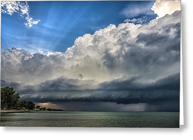 Epic Thunderstorm Over Lake Ontario Greeting Card by James  Montanus