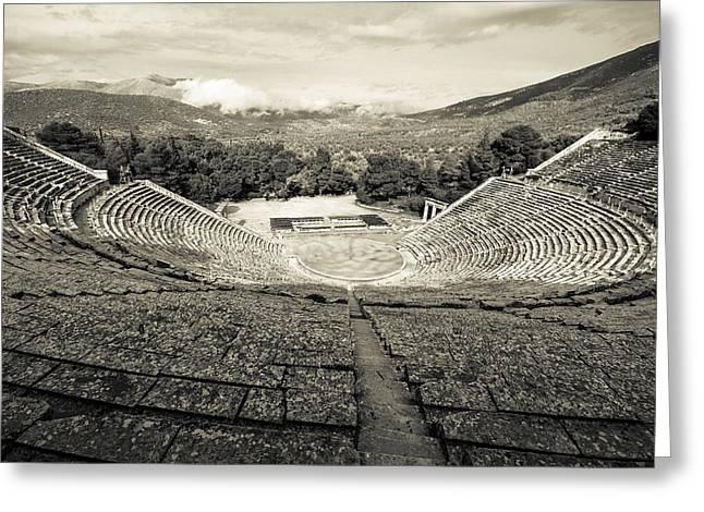 Epidavros Theatre Greeting Card by David Waldo