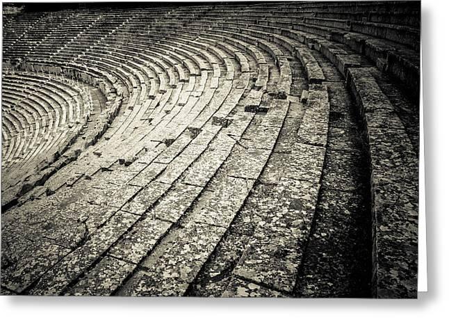 Epidavros Theatre Seats Greeting Card by David Waldo
