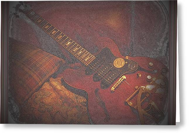 Epiphone Riveria Archtop Guitar Greeting Card by Rosemarie E Seppala