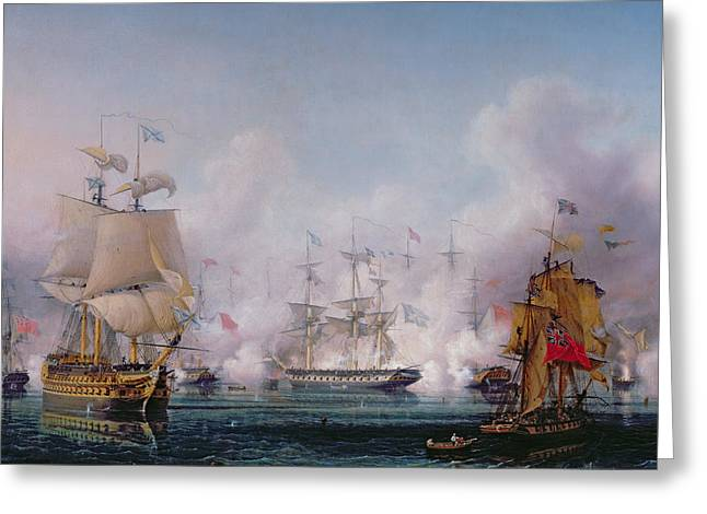 Episode Of The Battle Of Navarino Greeting Card by Ambroise-Louis Garneray