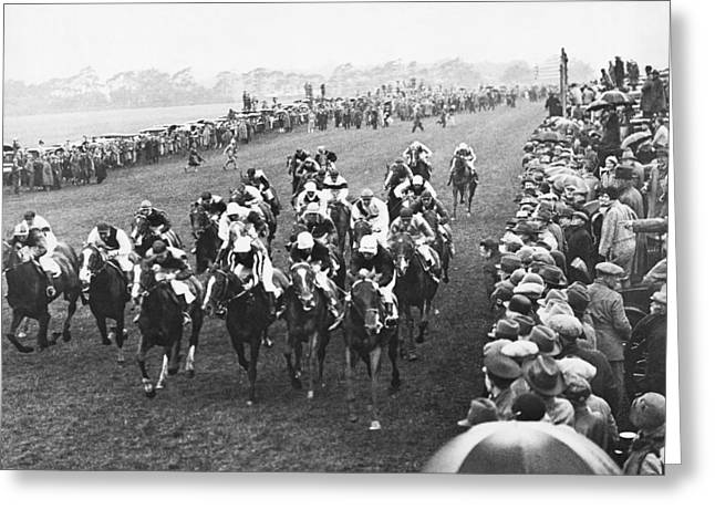 Epsom Derby Race Greeting Card by Underwood Archives