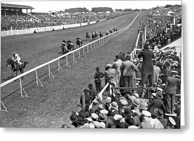 Epsom Derby Victory Greeting Card by Underwood Archives
