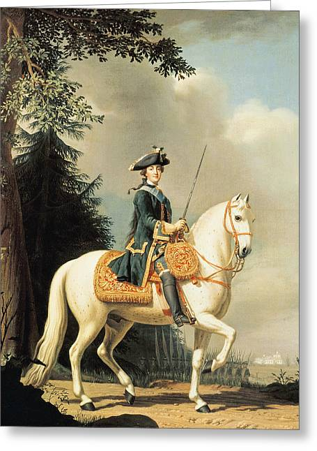 Equestrian Portrait Of Catherine II 1729-96 The Great Of Russia Oil On Canvas Greeting Card by Vigilius Erichsen