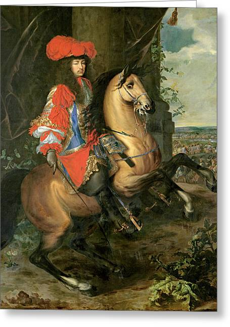 Equestrian Portrait Of Louis Xiv 1638-1715 Oil On Canvas Greeting Card
