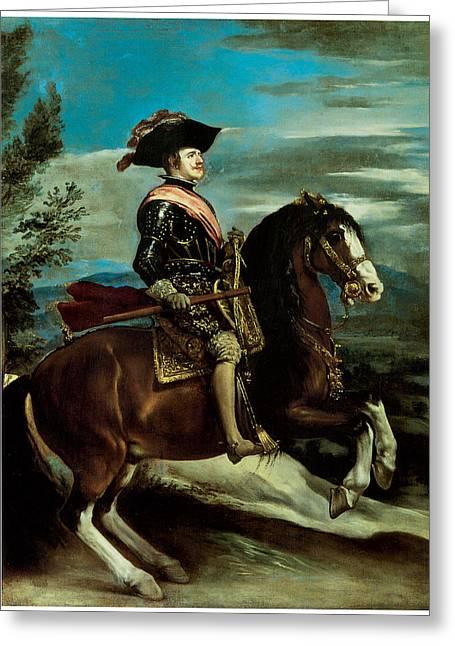 Equestrian Portriat Of King Philip Iv Of Spain Greeting Card by Diego Rodriguez de Silva y Velazquez