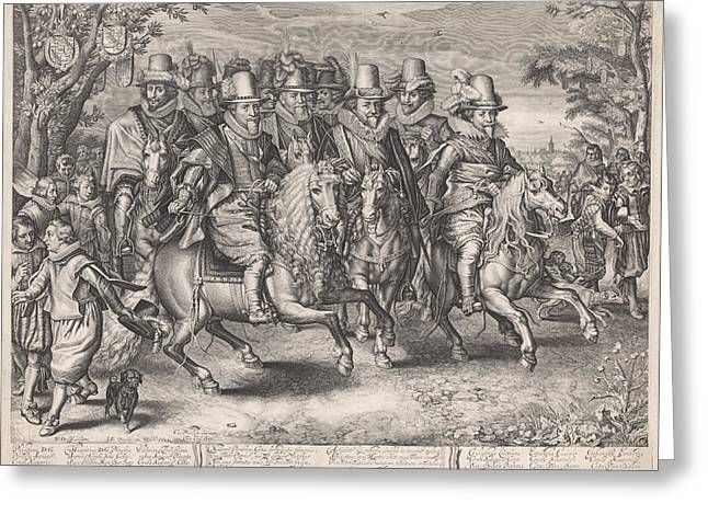 Equestrian Procession Of The Six Princes Of The House Greeting Card