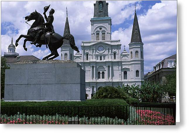 Equestrian Statue In Front Greeting Card by Panoramic Images