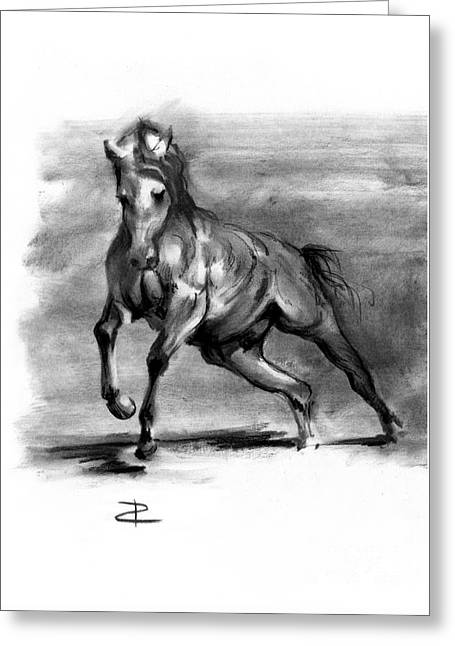 Greeting Card featuring the drawing Equine IIi by Paul Davenport