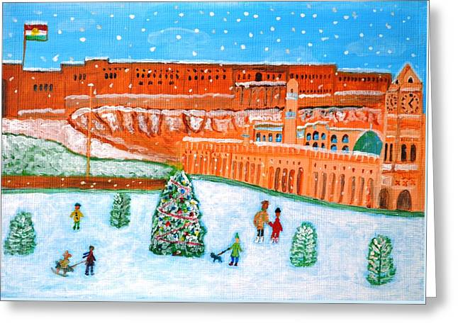 Greeting Card featuring the painting Erbil Citadel Christmas  by Magdalena Frohnsdorff