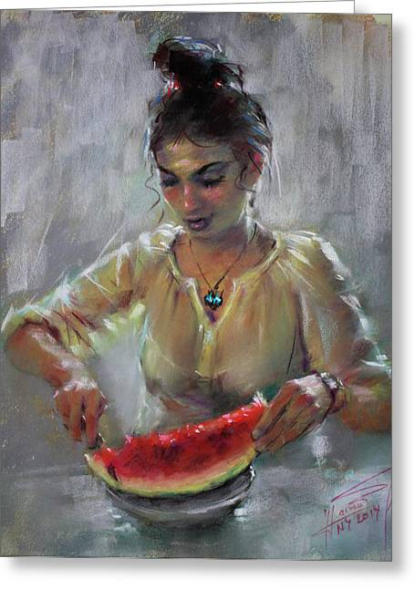 Erbora With Watermelon Greeting Card by Ylli Haruni