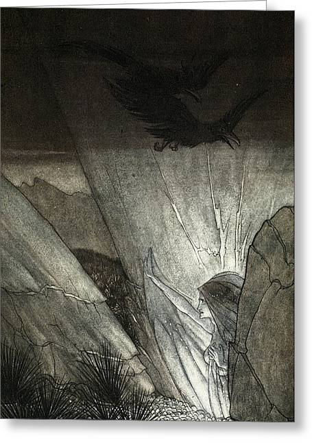 Erda Bids Thee Beware, Illustration Greeting Card by Arthur Rackham