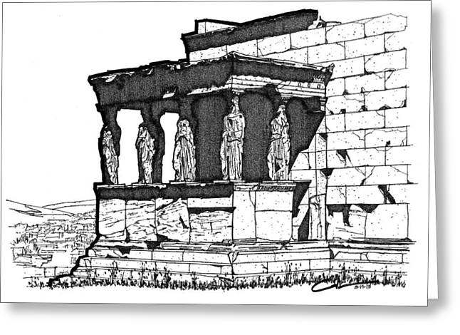 Greeting Card featuring the drawing Erechtheion Caryatids by Calvin Durham