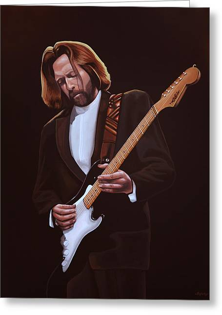 Eric Clapton Painting Greeting Card by Paul Meijering