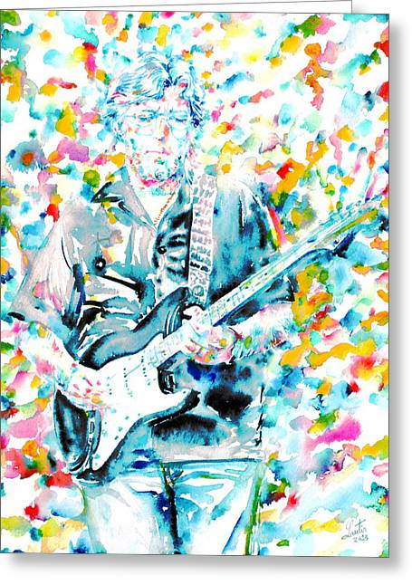 Eric Clapton - Watercolor Portrait Greeting Card by Fabrizio Cassetta