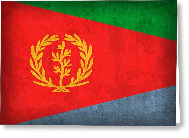 Eritrea Flag Vintage Distressed Finish Greeting Card by Design Turnpike