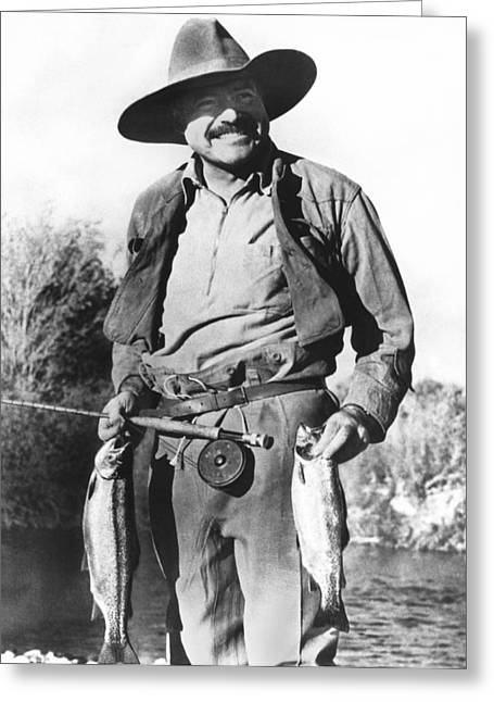Ernest Hemingway Fishing Greeting Card by Underwood Archives