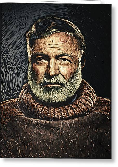 Ernest Hemingway Greeting Card by Taylan Apukovska
