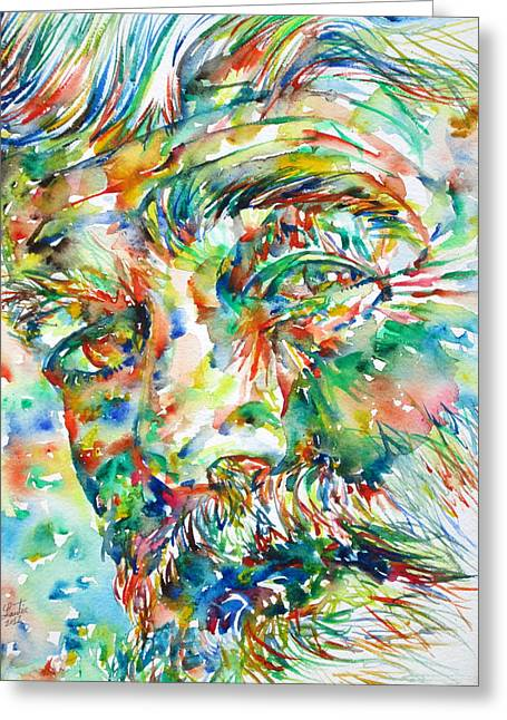 Ernest Hemingway Watercolor Portrait.1 Greeting Card by Fabrizio Cassetta