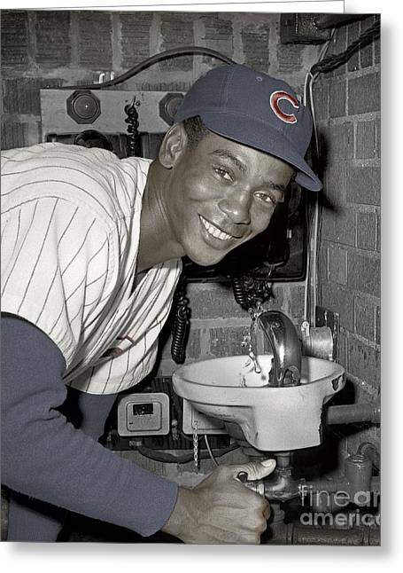 Ernie Banks At Cubs Water Fountain Greeting Card by Martin Konopacki Restoration