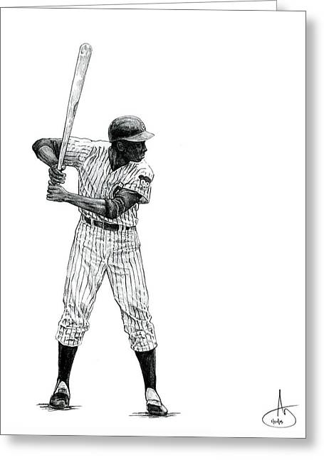 Ernie Banks Greeting Card by Joshua Sooter