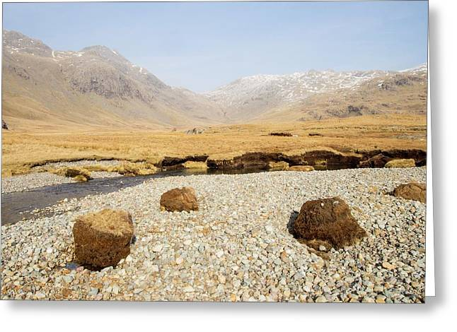 Eroded Peat On River Esk Greeting Card by Ashley Cooper