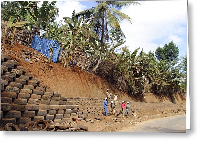 Erosion Control With Tires Greeting Card