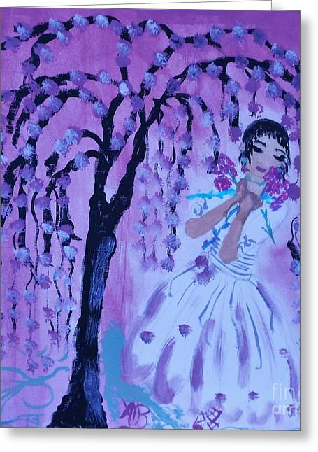 Erte'sblossom Umbrella Greeting Card by Marie Bulger