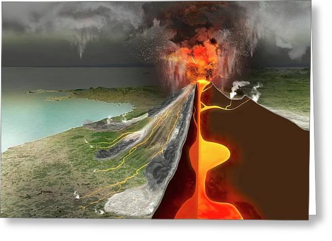 Eruption Of Mount Vesuvius Greeting Card