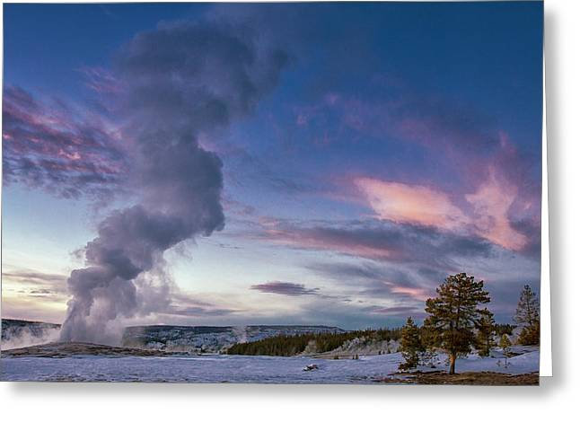 Eruption Of Old Faithful Geyser Greeting Card
