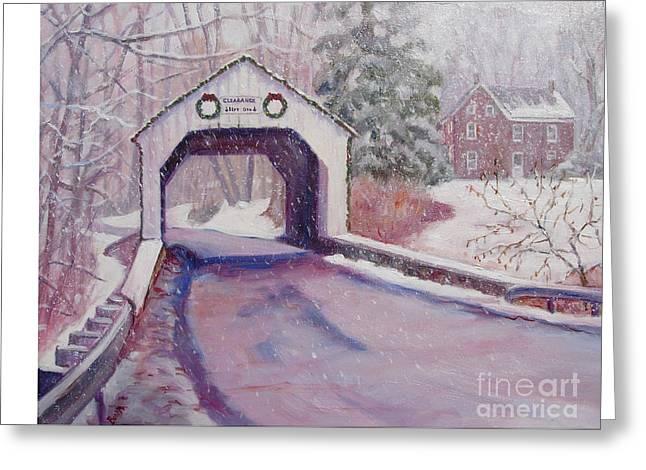 Erwinna Covered Bridge Greeting Card by Bonita Waitl