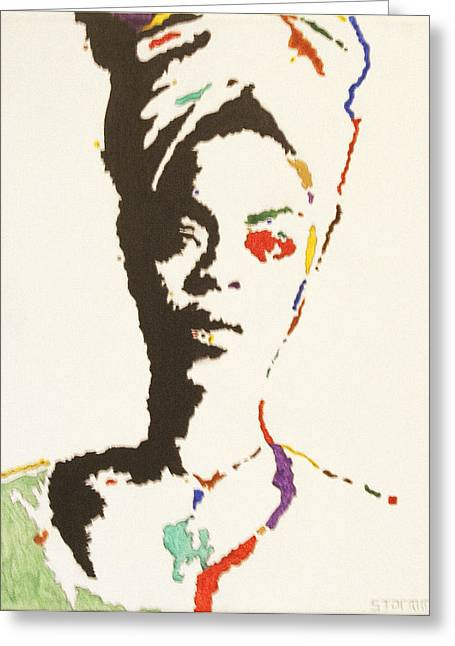 Greeting Card featuring the painting Erykah Badu by Stormm Bradshaw