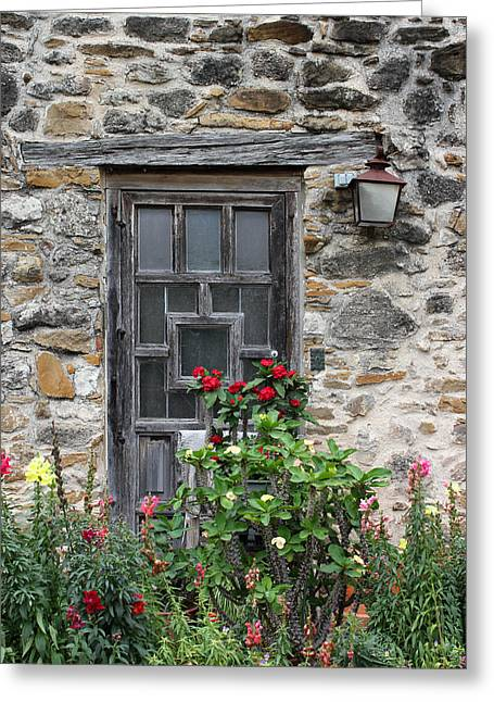Espada Doorway With Flowers Greeting Card by Mary Bedy