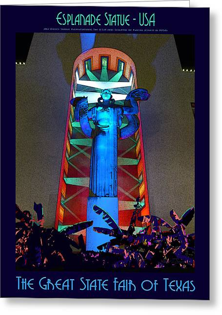 Esplanade Statue - U S A Greeting Card by Robert J Sadler