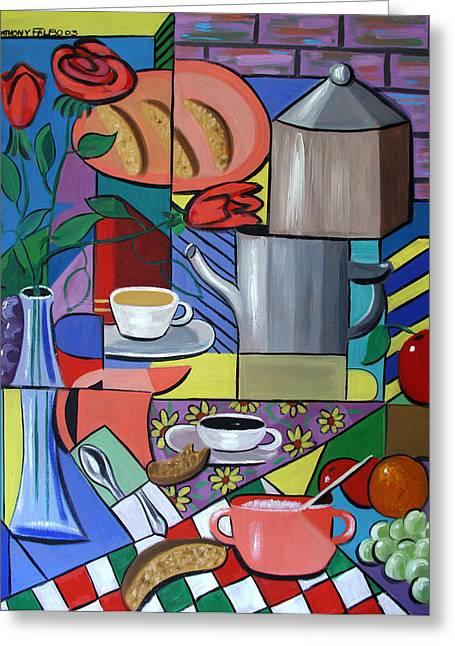 Greeting Card featuring the painting Espresso by Anthony Falbo
