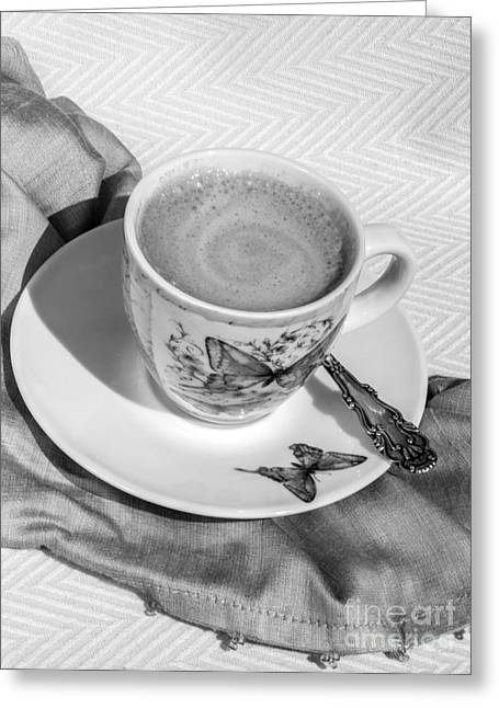 Espresso In Butterfly Cup In Black And White Greeting Card