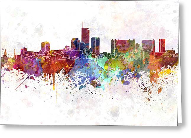 Essen Skyline In Watercolor Background Greeting Card